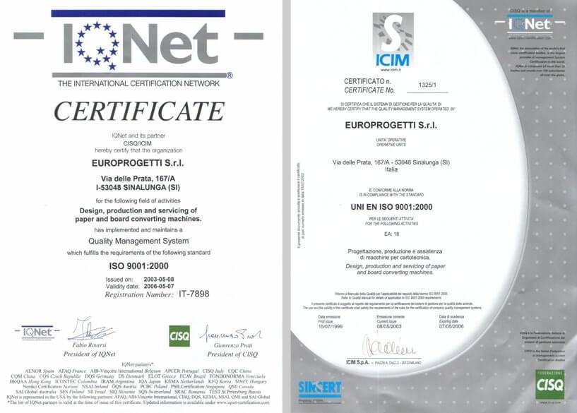Certificazione ISO 9001:2000 rilasciata ad Europrogetti nel 1999